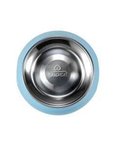 SUPER round dog food bowl with removable bowl stainless steel (large)